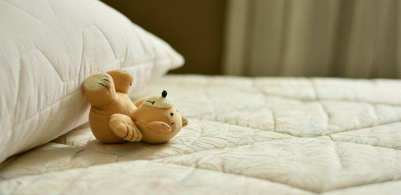 Kleiner Teddy, liegt entspannt auf dem Rücken auf dem Bett