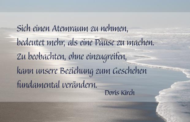 Atemraumübung Atempause - Zitat Doris Kirch